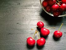Fresh organic red cherries with stems Royalty Free Stock Photo