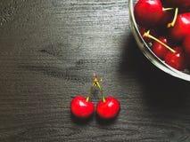Fresh organic red cherries with stems Stock Image