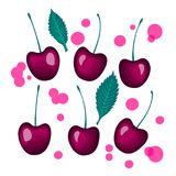 Vector Cherries berries set with a leaf. Cherries berries group with a leaf. Vector illustration isolated on white background Royalty Free Stock Photos