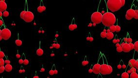 Cherries on black. In backgrounds stock footage
