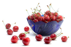 Cherries in a blue bowl Stock Photo