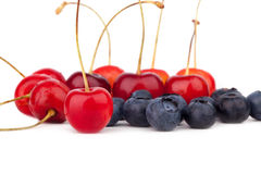 Cherries and blueberries Royalty Free Stock Image