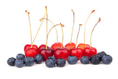 Cherries and blueberries Royalty Free Stock Photography