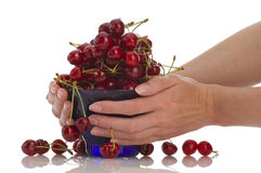Cherries in bowl Stock Photography