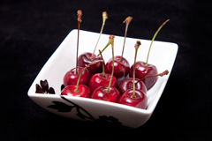 Cherries in bowl Royalty Free Stock Images