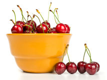 Cherries in bowl Stock Photos