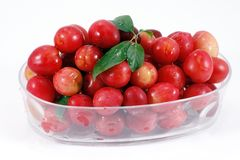 Cherries in bowl. Pile of wild cherries in glass bowl Royalty Free Stock Image