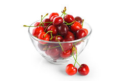 Cherries in a bowl isolated on white background. Royalty Free Stock Photo