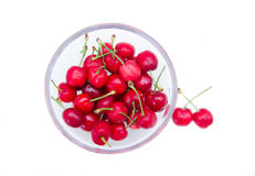 Cherries on bowl seen from above Stock Photo