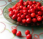 Cherries. A bowl of sweet cherries, freshly picked royalty free stock photography