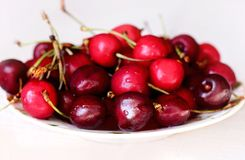 Cherries in a bowl.  Royalty Free Stock Image