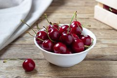 Cherries in the bowl royalty free stock photo