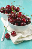 Cherries in bowls Royalty Free Stock Photo