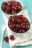 Cherries in bowls Royalty Free Stock Photos