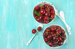 Cherries in bowls Stock Photography