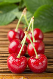 Cherries and branch with leaves Royalty Free Stock Photos