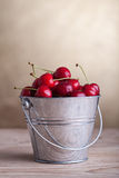 Cherries in a bucket - copyspace Royalty Free Stock Photo