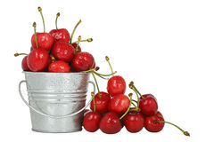 Cherries in bucket Stock Photos