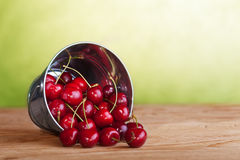 Cherries in a bucket on old wooden table Royalty Free Stock Photo