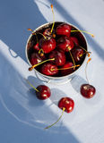 Cherries in a Bucket, Top View Royalty Free Stock Photo
