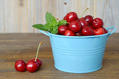 Cherries in the bucket Royalty Free Stock Images