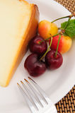 Cherries And Cheese Cake Royalty Free Stock Image