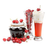 Cherries and cherry desserts. Fresh cherries and cherry desserts royalty free stock photo