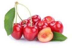 Cherries cherry fresh summer fruits fruit isolated on white. Cherries cherry fresh summer fruits fruit isolated on a white background Stock Images