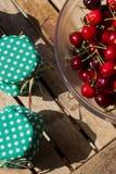 Cherries and cherry jam Stock Photo