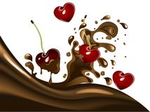 Cherries in chocolate Royalty Free Stock Image