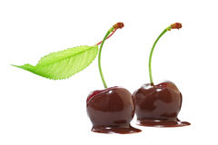 Cherries in chocolate Stock Images