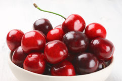 Cherries close-up on white Royalty Free Stock Images