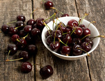 The cherries closeup in the cup Stock Photography