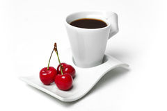 Cherries and coffe Stock Photography