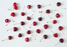 Cherries composition on white background stock photos