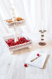 Cherries And Cookies On Cake Stand Stock Images