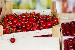 Cherries on the counter, close-up royalty free stock photo