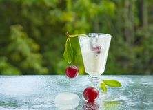Cherries and cream Royalty Free Stock Images