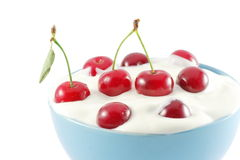 Cherries in cream Royalty Free Stock Photo