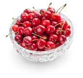 Cherries in crystal bowl Stock Image