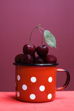 Cherries in a cup Royalty Free Stock Photography
