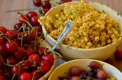 Cherries, currants and gooseberries in vintage bowls Stock Photo