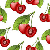 Cherries in a cut with bone, seamless pattern, berry background. Painted fruit, graphic art, cartoon. For the design of. The fabric, print, wallpaper, wrapping Stock Photography
