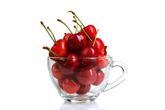 Cherries. Delicious bunch of cherries in cup on a white isolated background with reflection Stock Photography