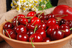 Cherries on a dish Stock Image