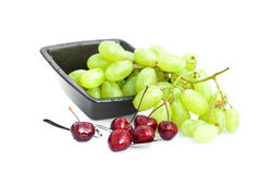 Cherries with drops of water in a spoon Royalty Free Stock Image