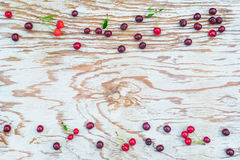 Cherries frame on white board Stock Photography