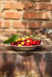 Cherries, fruit berries, harvest ripe and juicy fruits. top copy space. food background. Cherries, fruit berries, harvest ripe and juicy fruits. topncopy space royalty free stock image