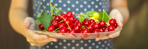 Cherries, fruit berries, harvest ripe and juicy fruits. top copy space. food background. Cherries, fruit berries, harvest ripe and juicy fruits. topncopy space royalty free stock images