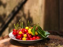 Cherries, fruit berries, harvest ripe and juicy fruits. top copy space. food background. Cherries, fruit berries, harvest ripe and juicy fruits. topncopy space stock photos